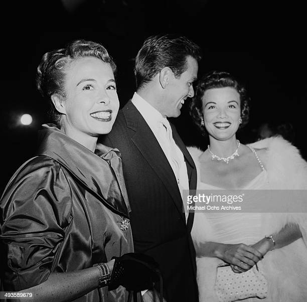 Actor Gower Champion and his wife Marge and Nanette Fabray attend a MGM premiere in Los Angeles California