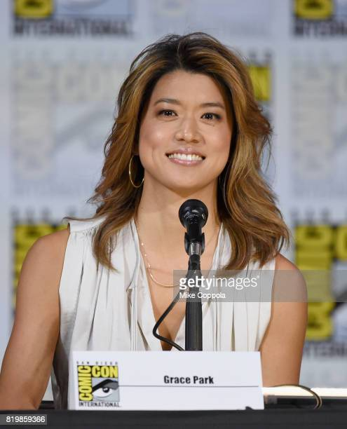 """Actor Grace Park speaks onstage at SYFY: """"Battlestar Galactica"""" Reunion during Comic-Con International 2017 at San Diego Convention Center on July..."""