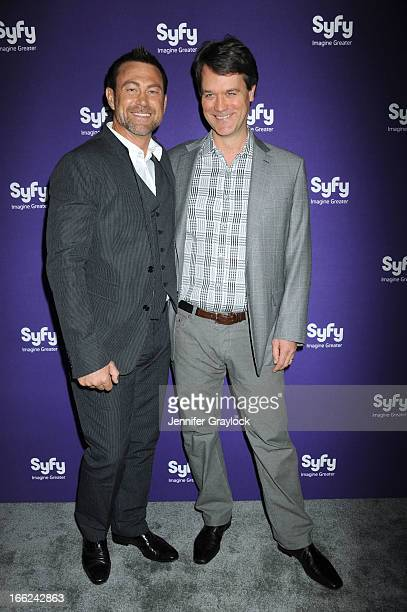 Actor Grant Bowler and Actor Kevin Murphy attend the Syfy 2013 Upfront at Silver Screen Studios at Chelsea Piers on April 10, 2013 in New York City.