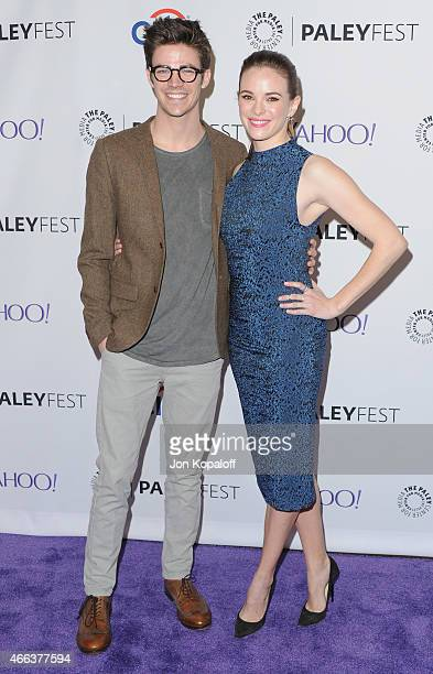 Actor Grant Gustin and actress Danielle Panabaker arrive at The Paley Center For Media's 32nd Annual PALEYFEST LA Arrow And The Flash at Dolby...