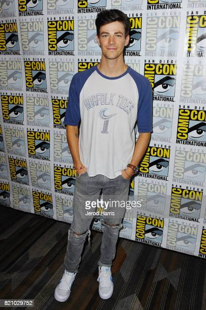 Actor Grant Gustin attends 'The Flash' press line at Comic Con 2017 Day 3 on July 22 2017 in San Diego California