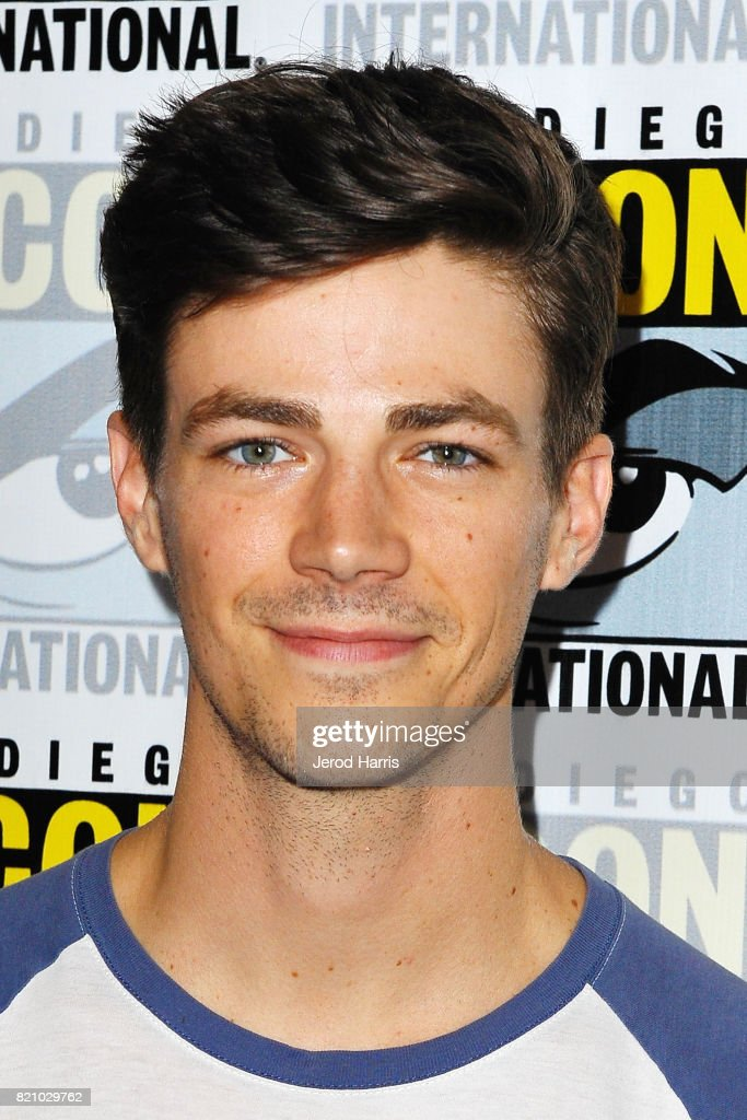 Actor Grant Gustin attends 'The Flash' press line at Comic Con 2017 - Day 3 on July 22, 2017 in San Diego, California.