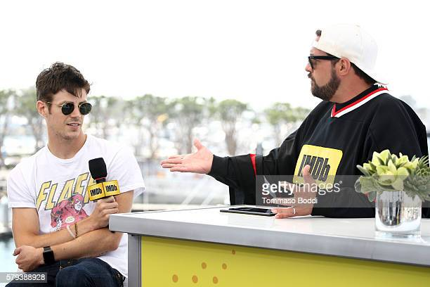 Actor Grant Gustin of The Flash and host Kevin Smith attend the IMDb Yacht at San Diego ComicCon 2016 Day Three at The IMDb Yacht on July 23 2016 in...