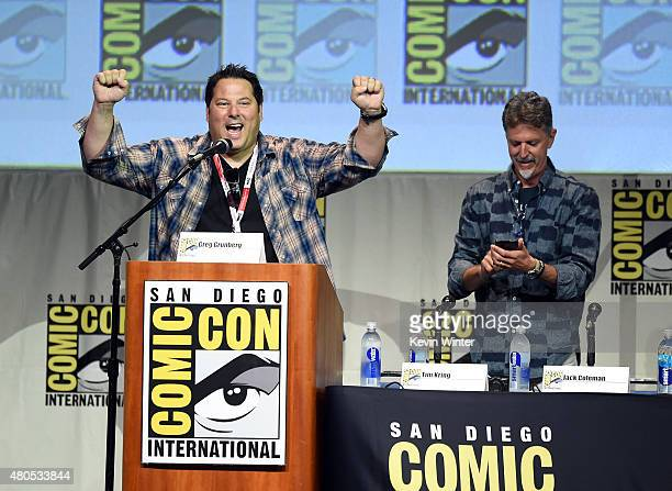 Actor Greg Grunberg and writer/producer Tim Kring speak onstage at the Heroes Reborn exclusive extended trailer and panel during ComicCon...