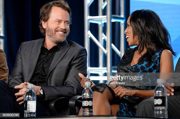 Actor Greg Kinnear and executive producer/actress Kerry Washington of 'Confirmation' speak onstage during the HBO Winter 2016 TCA Panel at Langham...