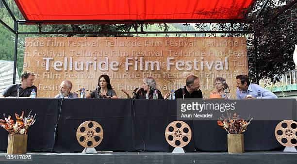 Actor Greg Kinnear, director Mike Lee, actress Elsa Zylberstein, moderator Annette Insdorf, director David Fincher, actress Jean Simmons and actor...