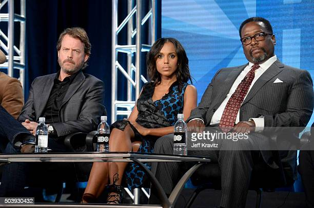 Actor Greg Kinnear executive producer/actress Kerry Washington and actor Wendell Pierce of 'Confirmation' speak onstage during the HBO Winter 2016...