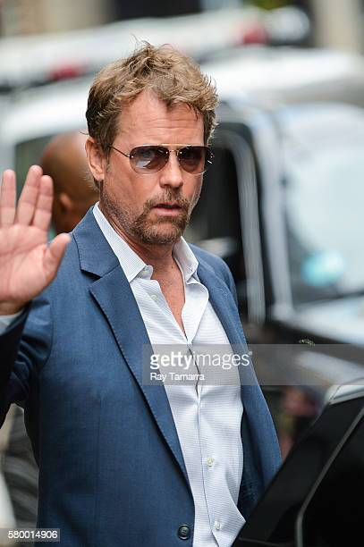 Actor Greg Kinnear leaves the Good Morning America taping at the ABC Times Square Studios on July 25 2016 in New York City