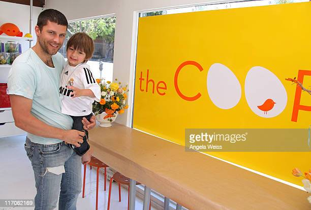 Actor Greg Vaughan and his son Jathan attend The Coop and Baby2Baby event for Julie Bowen at The COOP on May 7 2010 in Studio City California
