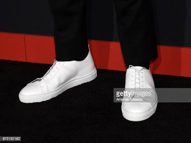 Actor Gregg Sulkin shoe detail arrives at the premiere of Hulu's 'Marvel's Runaways' at the Regency Bruin Theatre on November 16 2017 in Los Angeles...