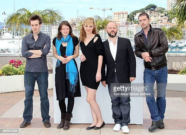 Actor Gregoire Leprince-Ringuet, actress Pauline Etienne, actress Louise Bourgoin, director Gilles Marchand and actor Melvil Poupaud attend the...