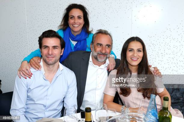 Actor Gregory Fitoussi RP Lacoste Audrey Zeitoun actors Antoine Dulery and Elisa Tovati attend the Roland Garros French Tennis Open 2014 Day 6 on May...