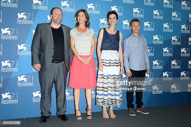 Actor Gregory Gadebois director Alix Delaporte actress Clotilde Hesme and actor Romain Paul attend the 'Le Dernier Coup De Marteau' photocall during...