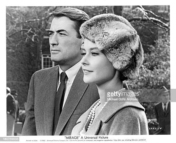 Actor Gregory Peck and actress Diane Baker on the set of the Universal Studio movie Mirage in 1958