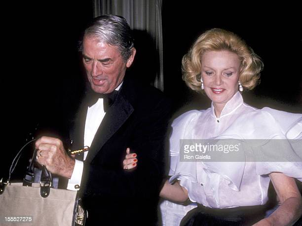 Actor Gregory Peck and Barbara Marx attend The Friars Club Roast of Henry Kissinger on May 3 1980 at The WaldorfAstoria Hotel in New York City