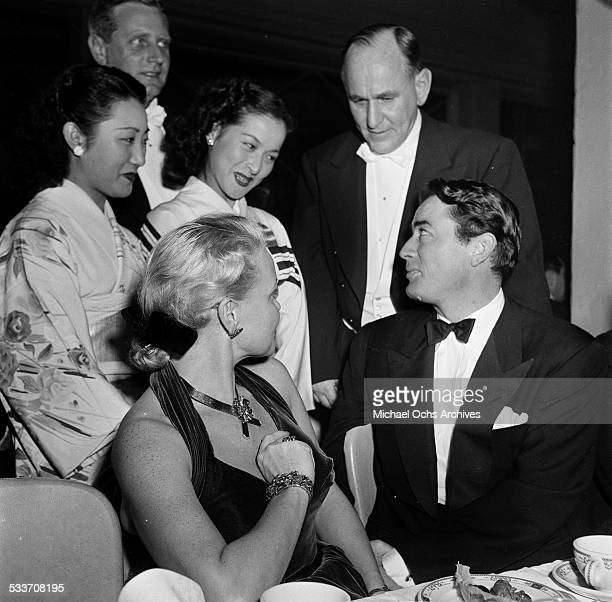 Actor Gregory Peck and his wife Greta Kukkonen greet fans as they attend the Foreign Press Awards in Los Angeles,CA.