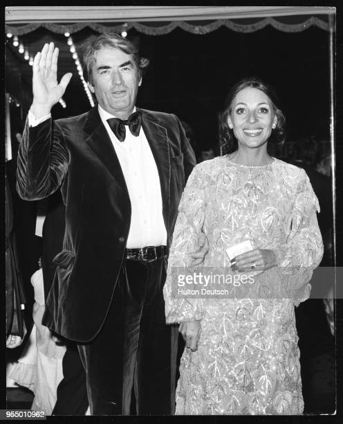 Actor gregory peck and his wife veronique passani Actor Gregory Peck and his wife Veronique Passani attending the premiere of the new James Bond film...