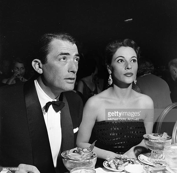 Actor Gregory Peck and his wife Veronique Passani attend the Foreign Press Awards in Los Angeles,CA.