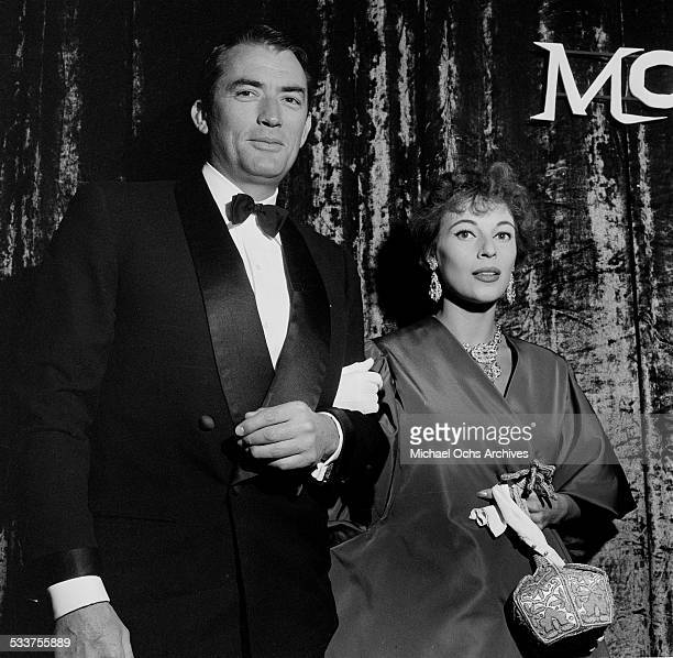 """Actor Gregory Peck and his wife Veronique Passani attend the premiere of """"Moby Dick"""" in Los Angeles,CA."""