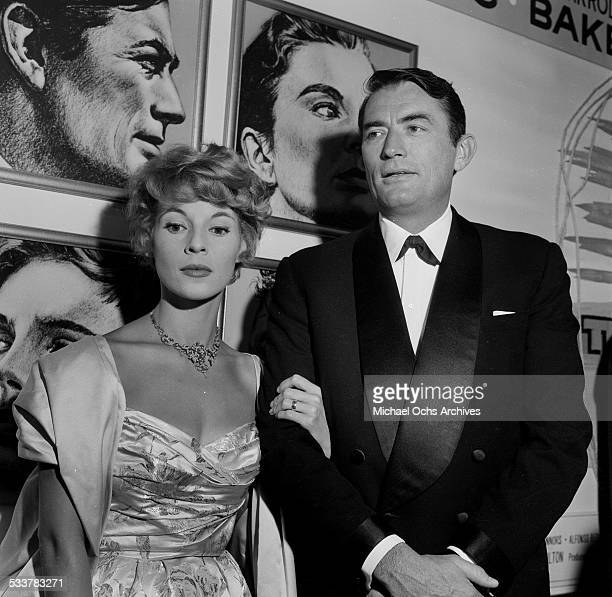 """Actor Gregory Peck and his wife Veronique Passani attend the premiere of """"The Big Country"""" in Los Angeles,CA."""