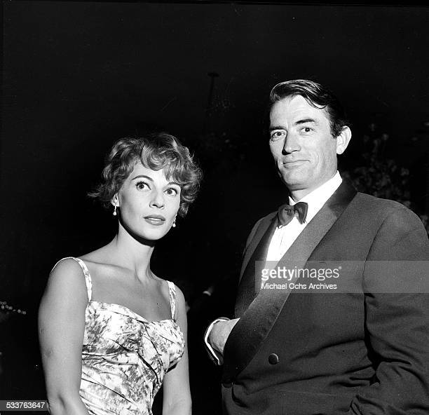 Actor Gregory Peck and his wife Veronique Passani attend the Stanley Kramer Party in Los Angeles,CA.