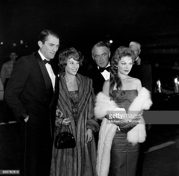 Actor Gregory Peck and his wife Veronique Passani with actress Joanna Moore attends an event in Los Angeles,CA.