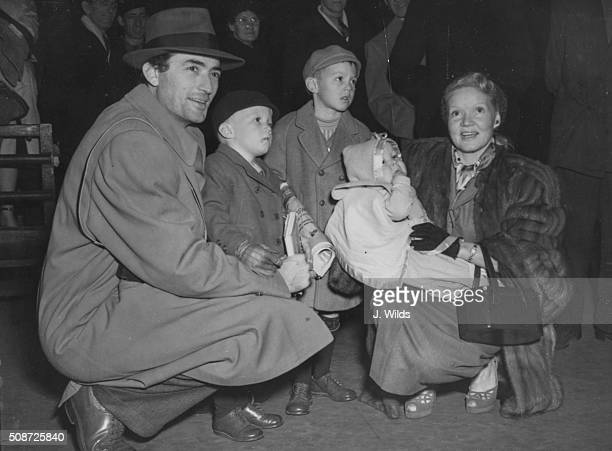 Actor Gregory Peck and his wife Veronique Passani with their children Stephen, Jonathan and Carey, pictured at Waterloo Station after arriving on the...