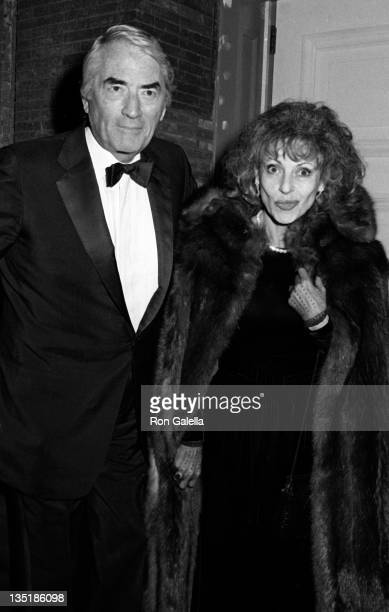 Actor Gregory Peck and wife Veronique Peck attend Frank Sinatra Opening on December 15 1986 at Carnegie Hall in New York City