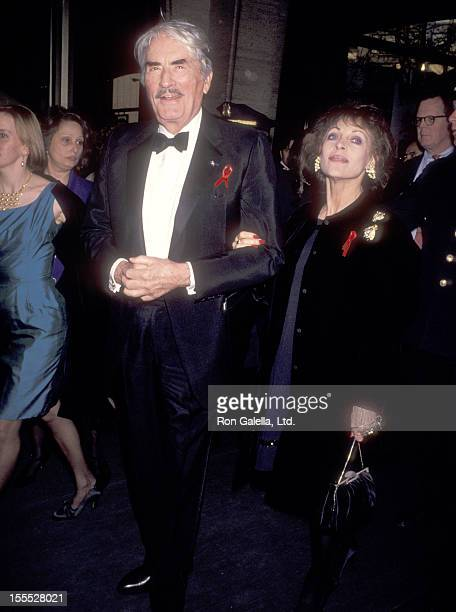 Actor Gregory Peck and wife Veronique Peck attend The Film Society of Lincoln Center Honors Jack Lemmon on April 19 1993 at Avery Fisher Hall Lincoln...