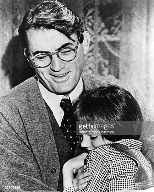 Actor Gregory Peck as Atticus Finch and Mary Badham as Jean Louise 'Scout' Finch in the film 'To Kill a Mockingbird', 1962.