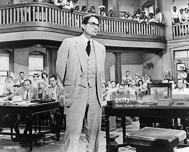 Actor Gregory Peck as Atticus Finch in the film 'To Kill a Mockingbird', 1962.