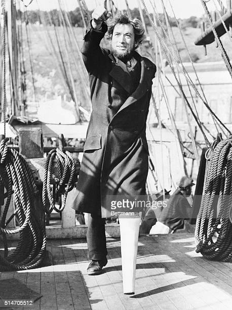Actor Gregory Peck as Captain Ahab in a scene from the movie Moby Dick.