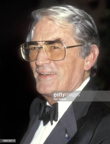 Actor Gregory Peck attends the 14th Annual American Film Insitute Lifetime Achievement Award Salute to Billy Wilder on March 6 1986 at Beverly Hilton...