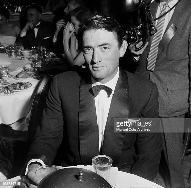Actor Gregory Peck attends the Foreign Press Awards at the Cocoanut Grove in Los Angeles,CA.