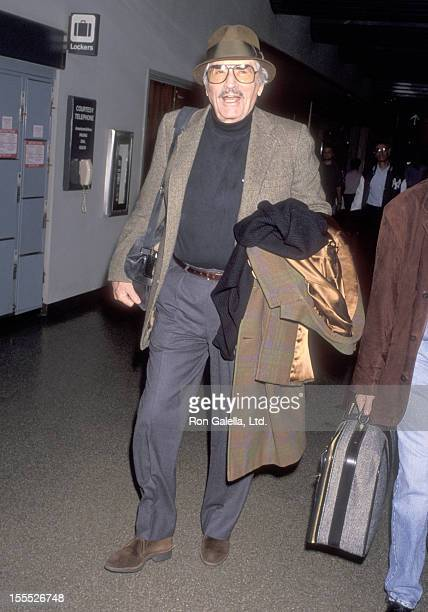 Actor Gregory Peck on March 12 1993 arrives at the Los Angeles International Airport in Los Angeles California
