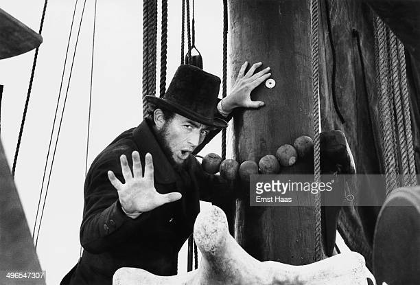 Actor Gregory Peck stars as the driven Captain Ahab in the film 'Moby Dick', circa 1956.