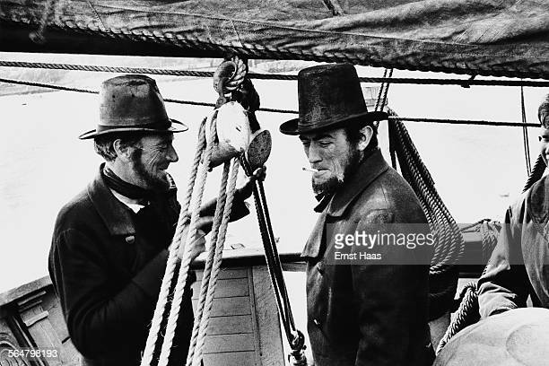 Actor Gregory Peck with his stunt double on the set of the film 'Moby Dick' directed by John Huston 1956
