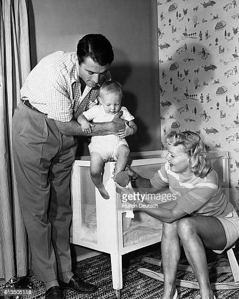 Actor Gregory Peck with his wife Greta Konen Rice and their young son Stephen, ca. 1945.