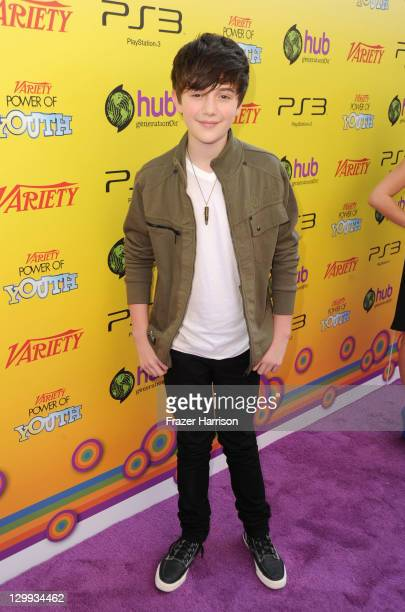 Actor Greyson Chance arrives at Variety's 5th annual Power Of Youth event presented by The Hub at Paramount Studios on October 22 2011 in Hollywood...