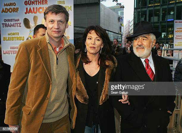 """Actor Guenther Jauch, actress Iris Berben and actor Mario Adorf arrive at the German premiere of """"Racing Stripes"""" on March 6, 2005 in Berlin, Germany."""