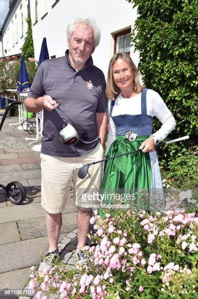 Actor Guenther Maria Halmer and Sybille Beckenbauer during the 7 M M EAGLES Charity LEDERHOS'N Golf Cup 2018 at Golfclub Castle EGMATING on June 22...