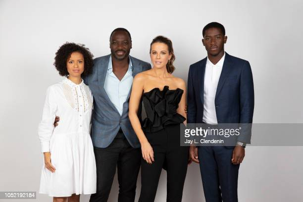 Actor Gugu MbathaRaw director Adewale AkinnuoyeAgbaje Kate Beckinsale and Damson Idris from 'Farming' are photographed for Los Angeles Times on...