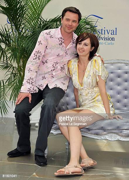 Actor Guillaume De Tonquedec and actress Valerie Bonneton attend a photocall promoting the television series 'Fais pas ci Fais pas ca' on the second...