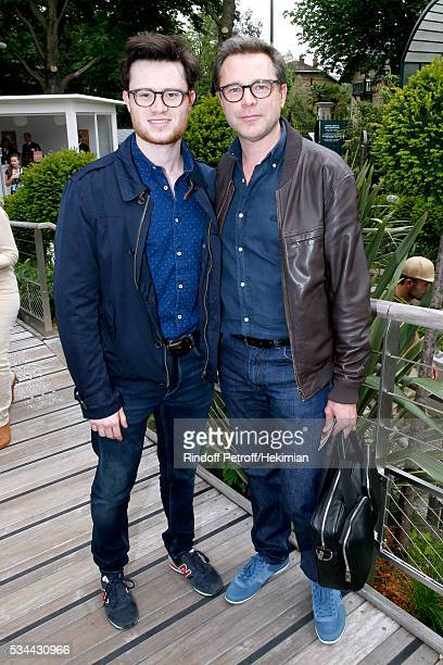 Actor Guillaume de Tonquedec and his son Amaury attend the 2016 French Tennis Open Day Five at Roland Garros