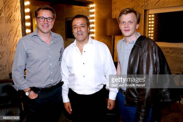 Actor Guillaume de Tonquedec Chico and actor Alex Lutz pose backstage after the Concert of 'Chico The Gypsies' with 50 gypsy guitars at L'Olympia on...