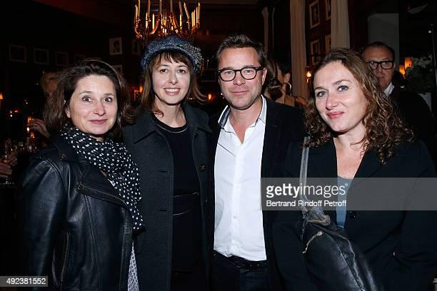 Actor Guillaume de Tonquedec his wife Christelle Actresses Agathe Dronne and Valerie Bonneton attend the Fouquet's Paris Restaurant presents its Menu...