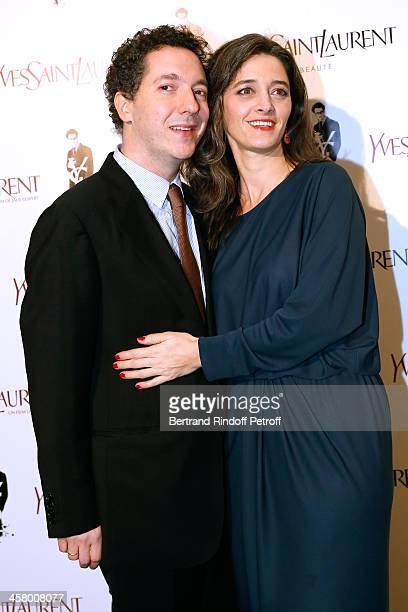 Actor Guillaume Gallienne and his wife Amandine Gallienne attend the 'Yves Saint Laurent' Paris movie Premiere at Cinema UGC Normandie on December 19...