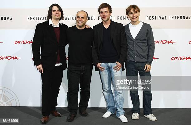 Actor Guillaume Quatravauxdirector Ilan Duran Cohen and actors Julien Baumgartner Lorant Deutsch attend the 'The Joy Of Singing' photocall during the...