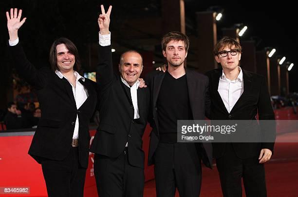 Actor Guillaume Quatravauxdirector Ilan Duran Cohen and actors Julien Baumgartner Lorant Deutsch attends the 'The Joy Of Singing' premiere during the...