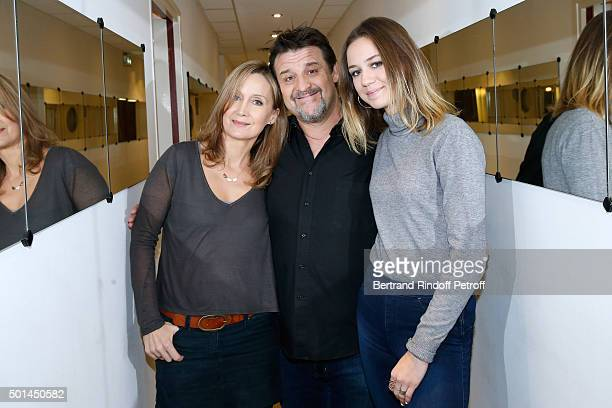 Actor Guy Lecluyse standing between Actress and wife of Main Guest of the show Olivier Marchal Catherine Marchal and her daughter Zoe Marchal attend...
